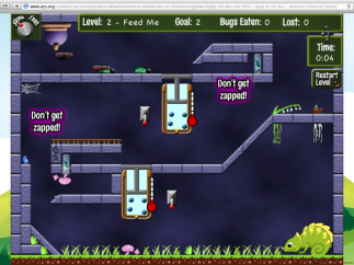 """Bugs on the Run,"" geared toward late elementary/MS, is the only online game."