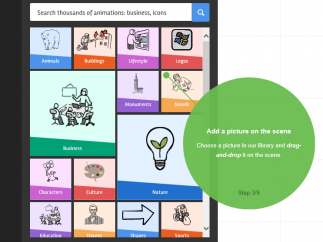 With Explee, users can choose from thousands of pictures as they create whiteboard animations.