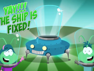 Through creative problem solving, the ship gets fixed and the Gloop family can go home.