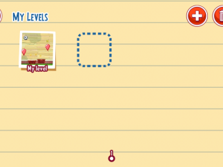 Kids can create and save their own levels by tapping the plus sign; they tap the trash can to delete a level.
