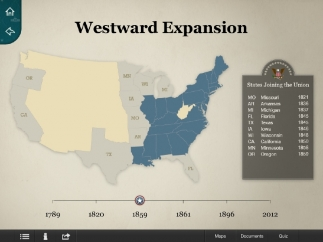 Interactive maps show the expansion of the United States from the 13 Colonies to modern day.