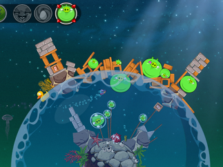 In-app purchases allow players to puff up the pigs they're battling.