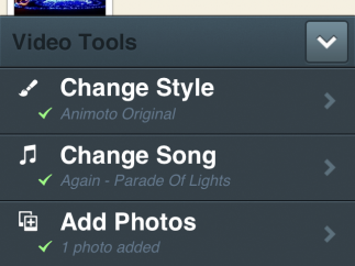 Video Tools is where you choose a theme, song, pictures, and video, and add text.