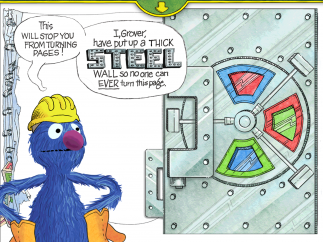 Grover makes another attempt to keep Elmo and readers from reaching the monster.