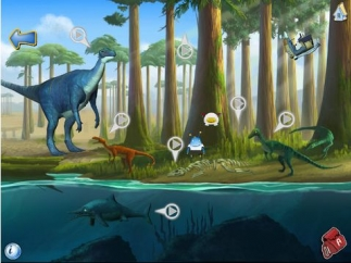 Trackers clearly point to each dinosaur or item on the screen that kids can tap.