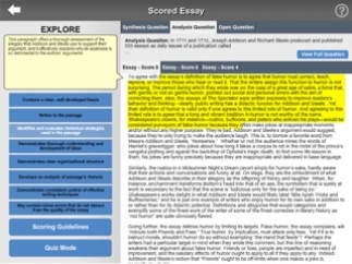 Students can see specific essay examples with detailed explanations of scoring criteria.