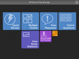 The main page is organized into five study options.