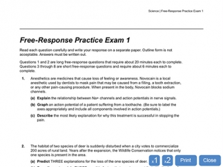 Practice exams come in different formats including free response.