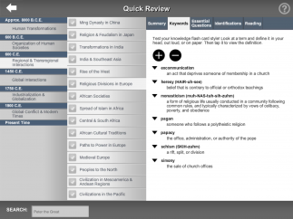 The interface isn't flashy, but it features extensive content and multiple ways to review.
