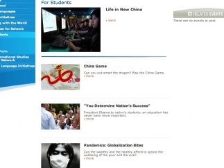 A section for students features articles and a few games.