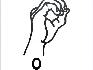 ASL flashcard shows the sign for the letter o.