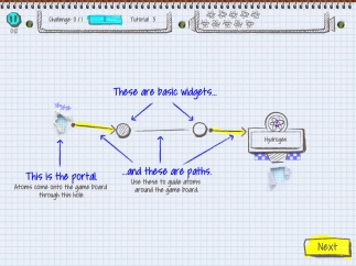 Students have to move atoms from the portal through paths, which contain widgets.