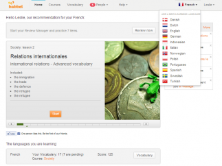 The home page features the current course with an activity log at the right. Summary at bottom shows languages, number of words, current course, and a score.