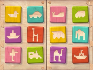 Choose from 12 puzzles of animals and vehicles.