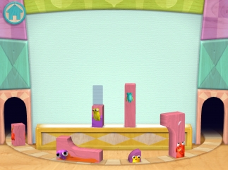 Grab blocks as they go by on a conveyor belt and place them in the shadowed spot.
