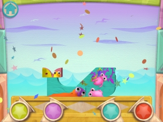 The completed puzzle sings, with each block adding a different sound; tap the horns on the bottom for special sounds and celebratory confetti.
