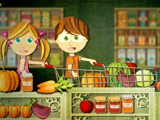 As Beck and Bo wander the aisles of the market, they think of items they need to buy and kids can place those items in their shopping cart.