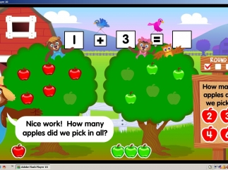 In Apple Orchard Addition, kids pick some red and some green apples then find the total apples picked.