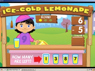 Lemonade Stand Subtraction uses the number of glasses of lemonade poured and those sold to find what's left.