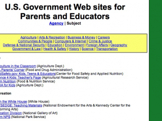 Teachers can access a long list of kid-friendly government websites about topics ranging from agriculture to transportation.