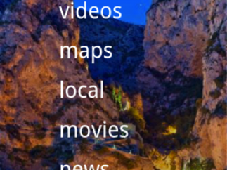 Bing main menu with device menu button activated.