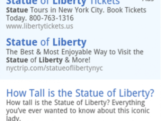 "Search results for ""How tall is the Statue of Liberty?"" input via voice recognition."