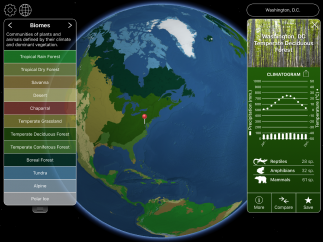 Tap on any location to see its climate, wildlife, and biome data.