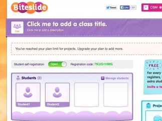 Teachers manage students projects, invite them to create accounts, or register with a unique code to review students' work on the teacher dashboard.