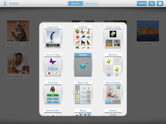 Users can choose from 16 built-in games to review and study flashcards from their boards.
