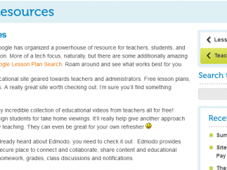 Not as many teacher links as there could be, but kids are really the main focus here.