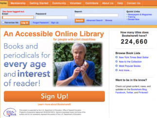 The Bookshare homepage provides different entry points.
