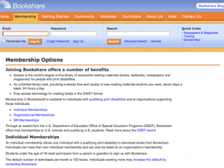 The site's membership options page explains who qualifies for free access.