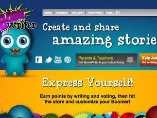 The homepage prominently features links to social networking sites.