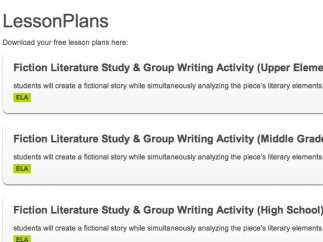 Some lesson plans expand on writing themes.