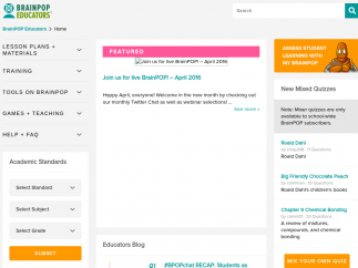 A social area for teachers called BrainPOP Educators offers lesson plans, webinars, discussion forums, and more.