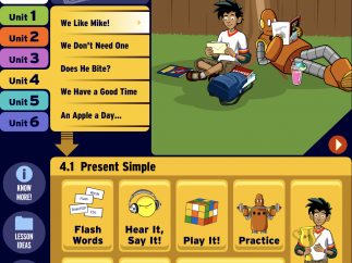 Leveled movies and interactive features teach English to students.
