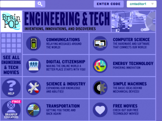 BrainPop: Engineering & Tech offers over 100 animated videos on technical topics, organized into seven units.