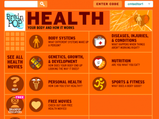 Brainpop's Health module has nearly 150 animated movies organized into 6 major units.