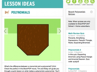 Teachers can access great lesson ideas within each topic.