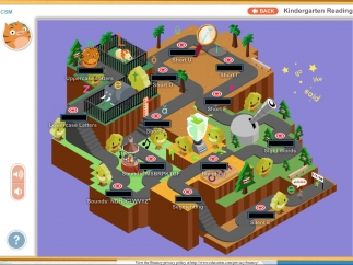 Kindergarten reading world where kids can choose a learning topic to explore; kids can click on the right for a short how-to video.