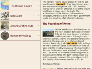 """Entries like """"Who Were the Romans?"""" make up the bulk of the content."""