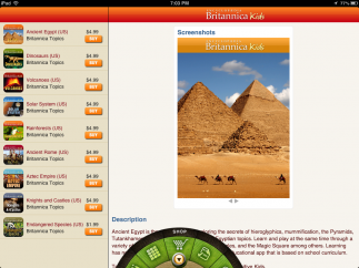A store highlights other Britannica Kids apps.