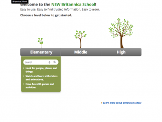 The home page interface is simple enough for younger students.
