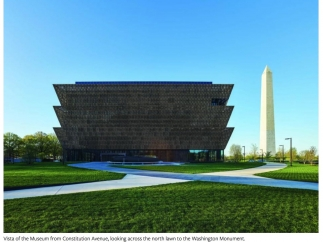 The museum building represents the past, present, and future of the African-American experience.