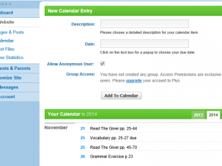 The simple calendar tool shows assignments, assessments, and homework.