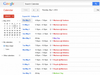 Viewing options allow you to see your calendar displayed as an agenda.