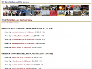View videos of each candidate addressing key issues, like the economy.