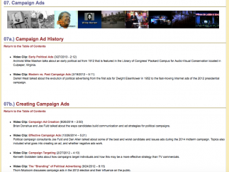 Other videos explore the history of presidential campaigns in the United States.