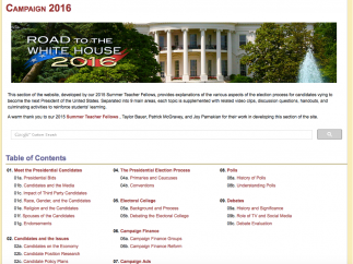 The presidential campaign section features clips from the candidates and expert videos about the election process.