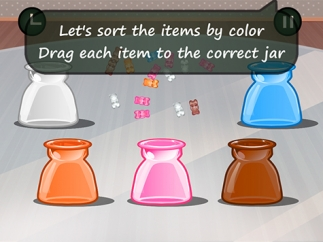 Drag candy into differently colored jars.